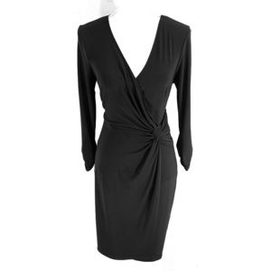 WHBM black front knot jersey 3/4 sleeve dress M